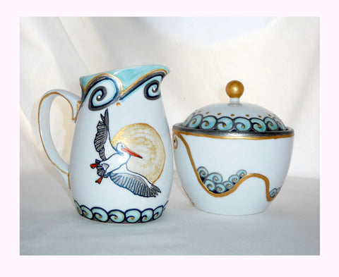 Pelican Cream and Sugar Bowl Hand Painted Serveware, Coastal Home Decor - sackettdoodles