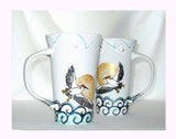 White Pelican Latte Mugs Hand Painted Serveware, Coastal Home Decor - sackettdoodles