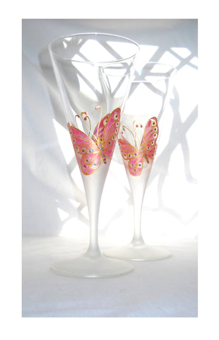 Wedding Crystal Stemware, Butterfly Hand Painted Glasses, Custom Glassware Made to Order - sackettdoodles