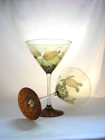 Turtle Martini Glasses Hand Painted Glassware - sackettdoodles