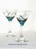 Dragonfly Martini Glasses Hand Painted Dragonfly Glassware Cocktail Art on Glass Pair
