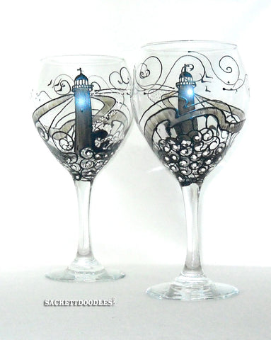 Steel Matte Blue Lighthouse Goblet Hand Painted Glassware Nautical Art on Glass
