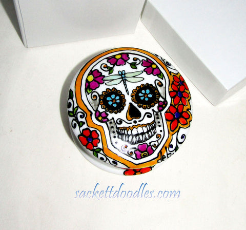 Sugar Skull Dresser Box Hand Painted Porcelain Mexican Folk Art Trinket Box