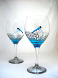 Turquoise Dragonfly Goblet Glasses Hand Painted Glassware Goblet Pair - sackettdoodles