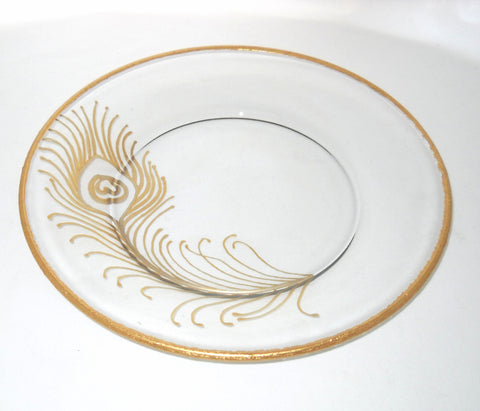 Yellow Gold Peacock Feather Wedding Plates Hand Painted Glass Art Serveware - sackettdoodles