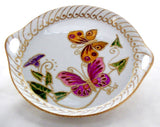 Porcelain Butterfly Tray Hand Painted Serving Platter, Artisan Cookie Tray