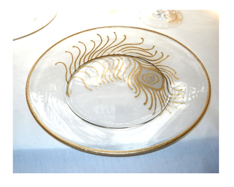 Peacock Feather Wedding Plates Hand Painted Glass - sackettdoodles