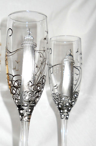 Lighthouse Toasting Flutes Hand Painted Stemware - sackettdoodles