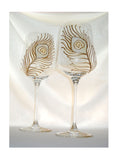Crystal Hand Painted Gold Peacock Feather Glassware - sackettdoodles