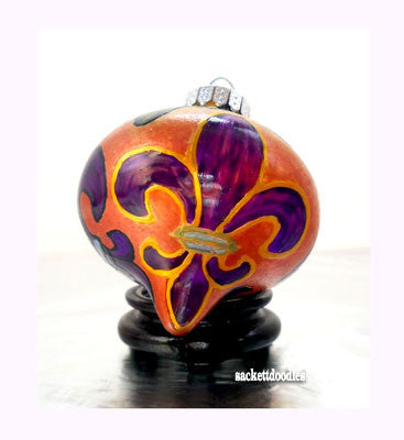 Purple Fleur de lis Ornament Hand Painted Decorative Art on Glass - sackettdoodles