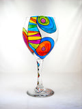 Colorful Carafe Hand Painted Crystal Server Set Made To Order - sackettdoodles