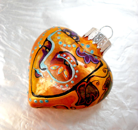 Glass Ornament Hand Painted Carnival Face Decorative Art - sackettdoodles
