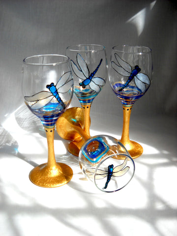 Blue Dragonfly Glassware Cordials Hand Painted Stemware - sackettdoodles