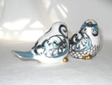 Bird Salt Pepper Shakers Hand Painted Porcelain Tabletop Decor - sackettdoodles