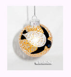 Sea Turtle Glass Ornament Gold Hand Painted Art on Glass - sackettdoodles