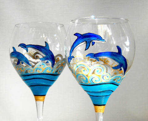 Blue Dolphin Goblets Hand Painted Glassware - sackettdoodles