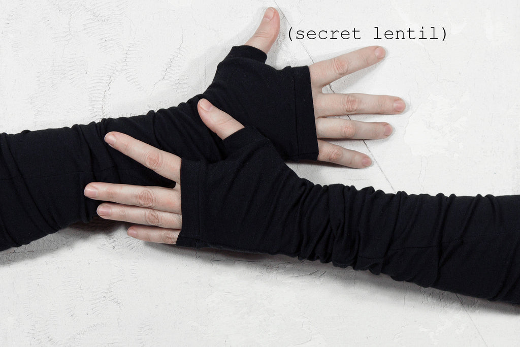 black fingerless gloves from secret lentil