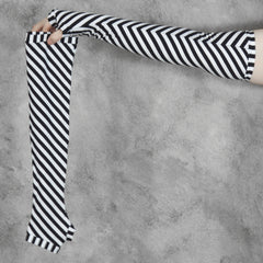 black and white striped arm warmers from secret lentil