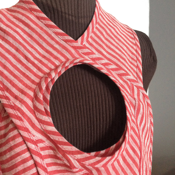 red striped linen portal collar from secret lentil