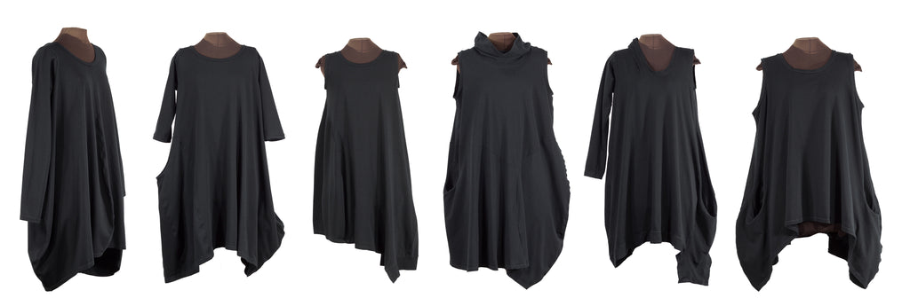 formstudy: black asymmetric lagenlook dresses from secret lentil