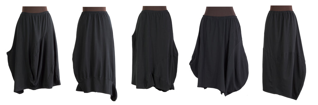 formstudy: black sculpted asymmetric lagenlook skirts from secret lentil