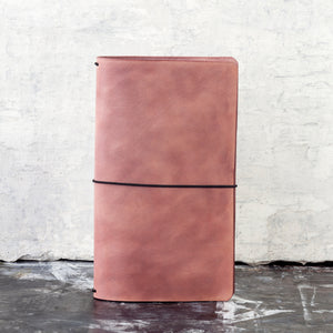 Mottled Earthy Pink Hand-dyed leather journal cover - secret lentil