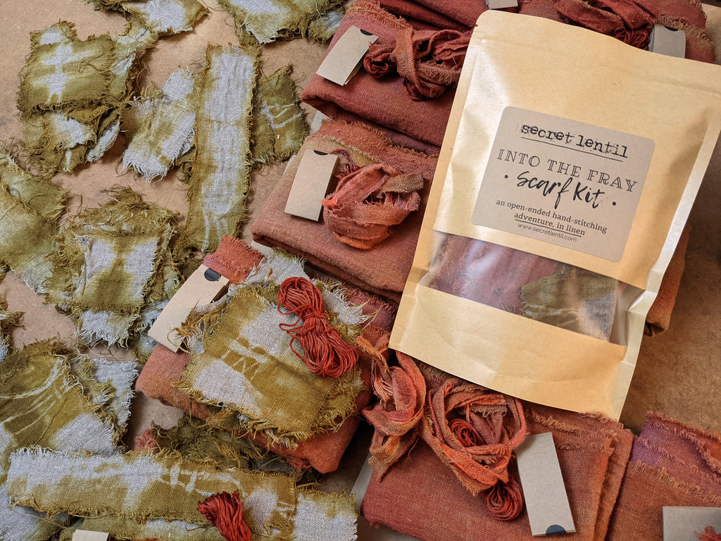 Secret Lentil into The Fray Scarf Kit: a hand-stitched adventure, in linen