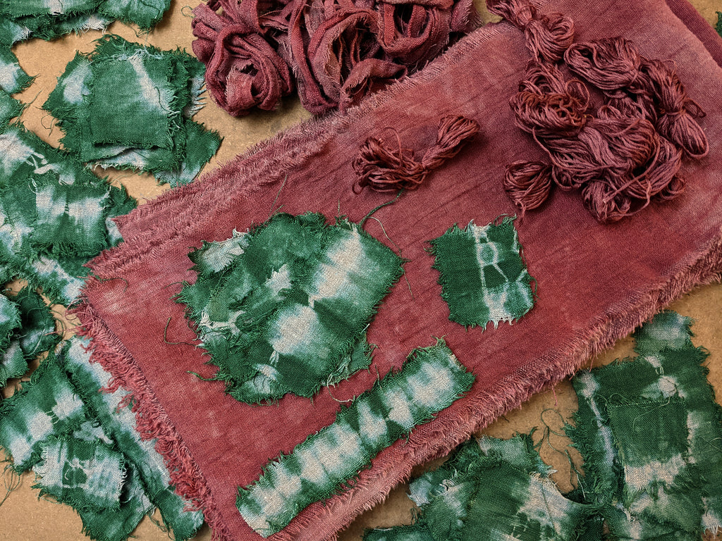 Into The Fray — Linen Scarf Hand-Stitching Kit — Soft Cranberry-Brick + Camp Green