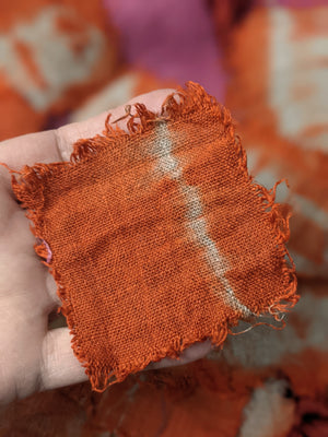 Raspberry + Clementine Orange — Into The Fray — Linen Scarf Hand-Stitching Kit from Secret Lentil