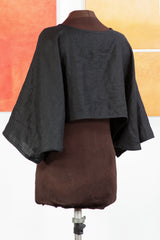 Black Linen Cropped 'Japan' Jacket from Secret Lentil