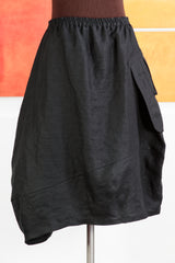 Black Linen Skirt w/ 1800's-esque pocket L to XL