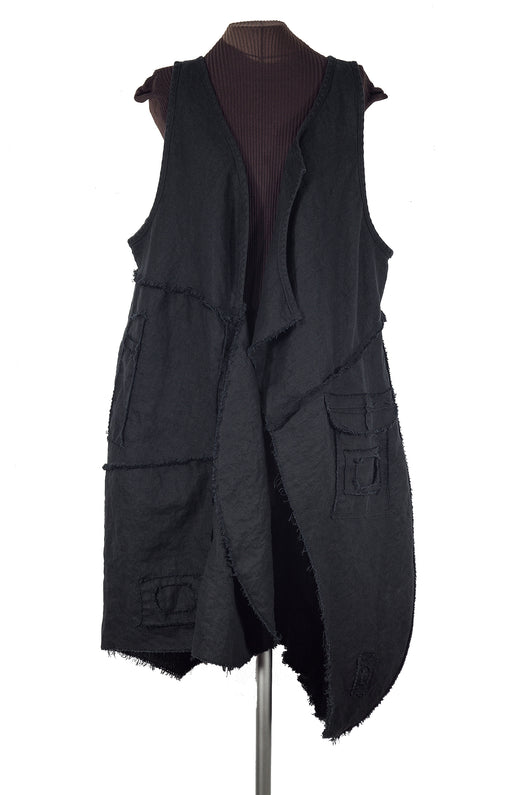 Secret Lentil Black Linen Artifacted Vest with secret pockets