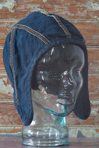 linen bonnet in deeper-than-indigo blue