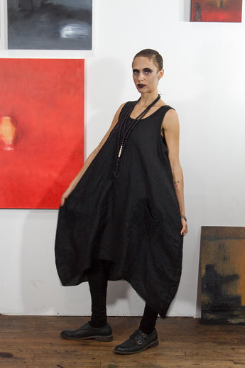 Arcane Notions: Black Artifacted Linen Dress from Secret Lentil
