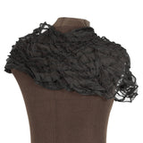 sculpted black silk cowl collar