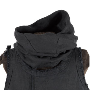 secret lentil black linen twist cowl collar