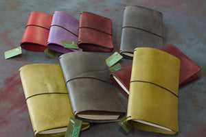Hand Dyed Leather journal covers from Secret Lentil