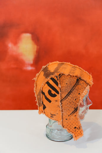 BONNET ~ HELMET ~ HAT - hand printed, ORANGE - Secret Lentil
