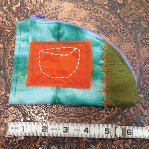 secret lentil hand stitched zipper pouch