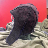 BONNET ~ HELMET ~ HAT - hand printed, in PLUM