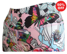 Load image into Gallery viewer, Close up of waistband butterfly floral print Flip the Dog fitness wear leggings