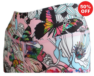 Close up of waistband butterfly floral print Flip the Dog fitness wear leggings
