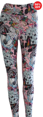 Pink butterfly floral print Flip the Dog fitness wear high waisted leggings