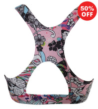 Load image into Gallery viewer, Rear view of Flip the Dog pink racer back fitness wear bra top