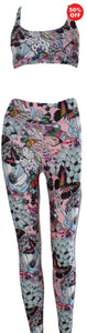 Flip the Dog bra top and leggings pink butterfly floral design