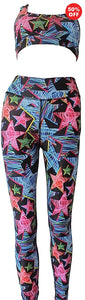 Multi colour star print high waisted fitness wear leggings and bra top made from recycled plastics