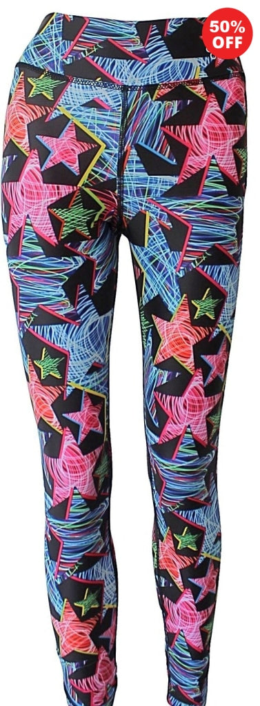 Multi colour star print high waisted fitness wear leggings  made from recycled plastics Flip the Dog