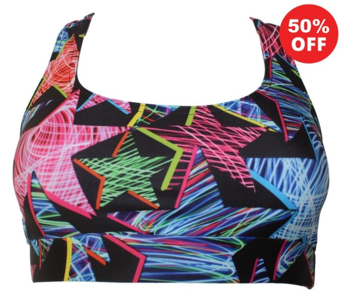 Multi coloured Star print fitness wear bra top by Flip the Dog