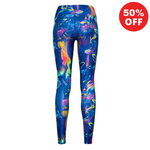 Back view of bright blue colourful eco fitness wear leggings  from Flip the Dog