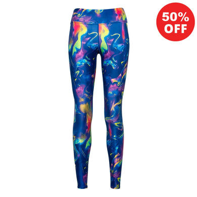 Front view of bright blue colourful eco fitness wear leggings  from Flip the Dog